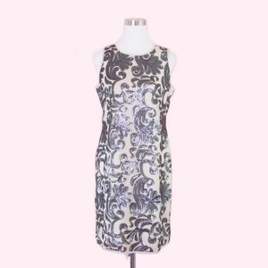Vince Camuto Sequined Party Sheath Dress Silver